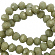 Top Glas Facett Perlen 6x4 mm rondellen Dusty olive green-pearl shine coating