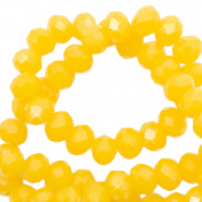 Top Glas Facett Perlen 4x3 mm rondellen Sunshine yellow-pearl shine coating