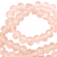 Top Glas Facett Perlen 4x3 mm rondellen Peachy rose-pearl shine coating