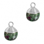 Naturstein Anhänger wire wrapped Dark green marble-silver