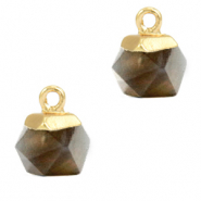 Naturstein Anhänger Hexagon Black diamond-gold