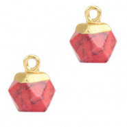 Naturstein Anhänger Hexagon Red marble-gold
