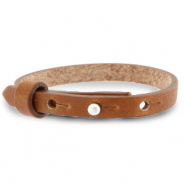 Cuoio Armbänder Leder 8 mm für 12 mm Cabochon Saddle brown