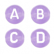 Buchstaben Perlen aus Acryl Mix Lilac purple transparent