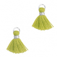 Perlen Quaste 1cm Silver-light olive green