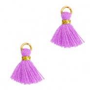 Perlen Quaste 1cm Gold-light purple