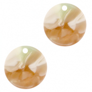 Resin Anhänger rund 12mm Mixed light green-brown