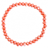 Facett Glas Armbänder 6x4mm Fiery red-pearl shine coating