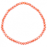 Facett Glas Armbänder 4x3mm Spicy orange-pearl shine coating