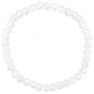 Facett Glas Armbänder 6x4mm White-pearl shine coating