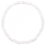 Facett Glas Armbänder 4x3mm White-pearl shine coating
