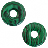 Naturstein Anhänger Disc Green-black