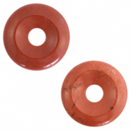 Naturstein Anhänger Disc Red ochre brown