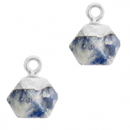 Naturstein Anhänger Hexagon Blue white-silver