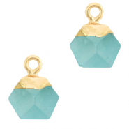 Naturstein Anhänger Hexagon Turquoise blue-gold