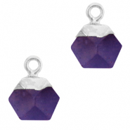 Naturstein Anhänger Hexagon Purple-silver