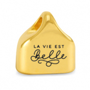 "Metall Endkappen DQ ""LA VIE EST BELLE"" Mix & Match Gold (Nickelfrei)"