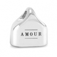 "Metall Endkappen DQ ""AMOUR"" Mix & Match Antik silber (Nickelfrei)"