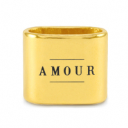 "Metall Schieber DQ ""AMOUR"" Mix & Match Gold (Nickelfrei)"