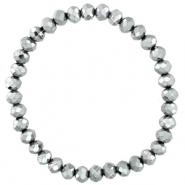 Facett Glas Armbänder 6x4mm Silver-pearl shine coating