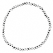 Facett Glas Armbänder 3x2mm Silver-pearl shine coating