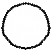 Facett Glas Armbänder 3x2mm Black-pearl shine coating