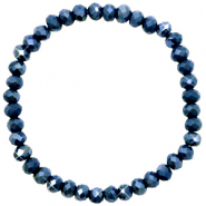 Facett Glas Armbänder 6x4mm Classic blue-pearl shine coating