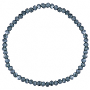 Facett Glas Armbänder 3x2mm Greige blue-pearl shine coating