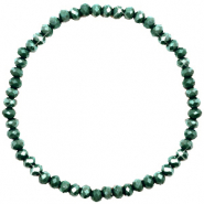 Facett Glas Armbänder 4x3mm Dark green-pearl shine coating