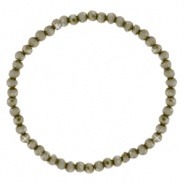 Facett Glas Armbänder 4x3mm Olive army green-pearl shine coating