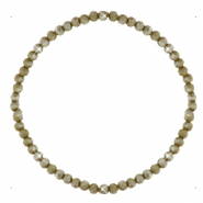Facett Glas Armbänder 3x2mm Olive army green-pearl shine coating
