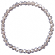 Facett Glas Armbänder 6x4mm Greige-pearl shine coating