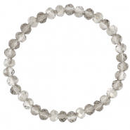 Facett Glas Armbänder 6x4mm Light grey-pearl shine coating