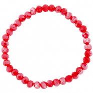 Facett Glas Armbänder 6x4mm Samba red-pearl shine coating