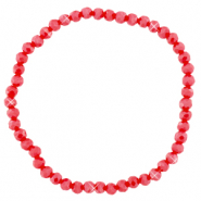 Facett Glas Armbänder 4x3mm Samba red-pearl shine coating