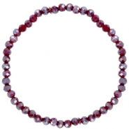 Facett Glas Armbänder 4x3mm Fired brick red-pearl shine coating