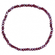 Facett Glas Armbänder 3x2mm Fired brick red-pearl shine coating