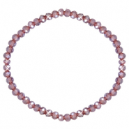 Facett Glas Armbänder 4x3mm Light purple-pearl shine coating