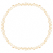 Facett Glas Armbänder 4x3mm Beige peach-half pearl shine coating