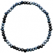 Facett Glas Armbänder 4x3mm Midnight blue-pearl shine coating