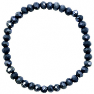 Facett Glas Armbänder 6x4mm Midnight blue-pearl shine coating