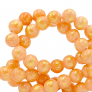 6 mm Naturstein Perlen Orange-gold