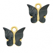 Anhänger 1 Öse Butterfly Anthracite-gold