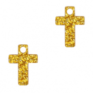 Plexx Anhänger Cross Glitter Golden yellow