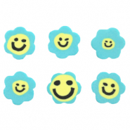 Polymer Perlen Blume Smiley Blue