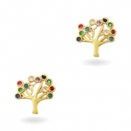 Zirkonia brass elements Rainbow Tree of Life Gold