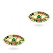 Zirkonia brass elements Rainbow Eye Gold