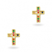 Zirkonia brass elements Rainbow Cross Gold