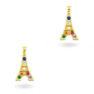 Zirkonia brass elements Rainbow Eiffel Tower Gold