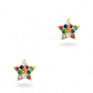 Zirkonia brass elements Rainbow little Star Gold
